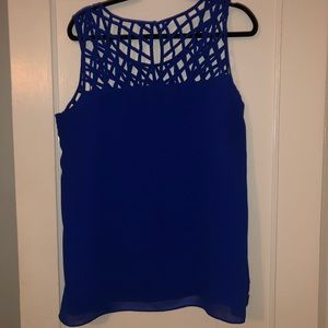City Chic Tops - Blue Chiffon Tank Top with Caged Neckline
